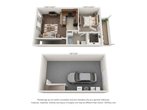 A 3D floorplan of the 1 bedroom with garage layour at The Villas at Island Road