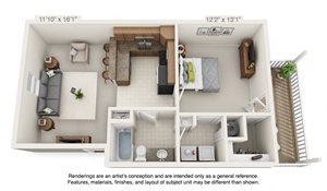 3 dimensional floorplan view of a 1 bedroom apartment