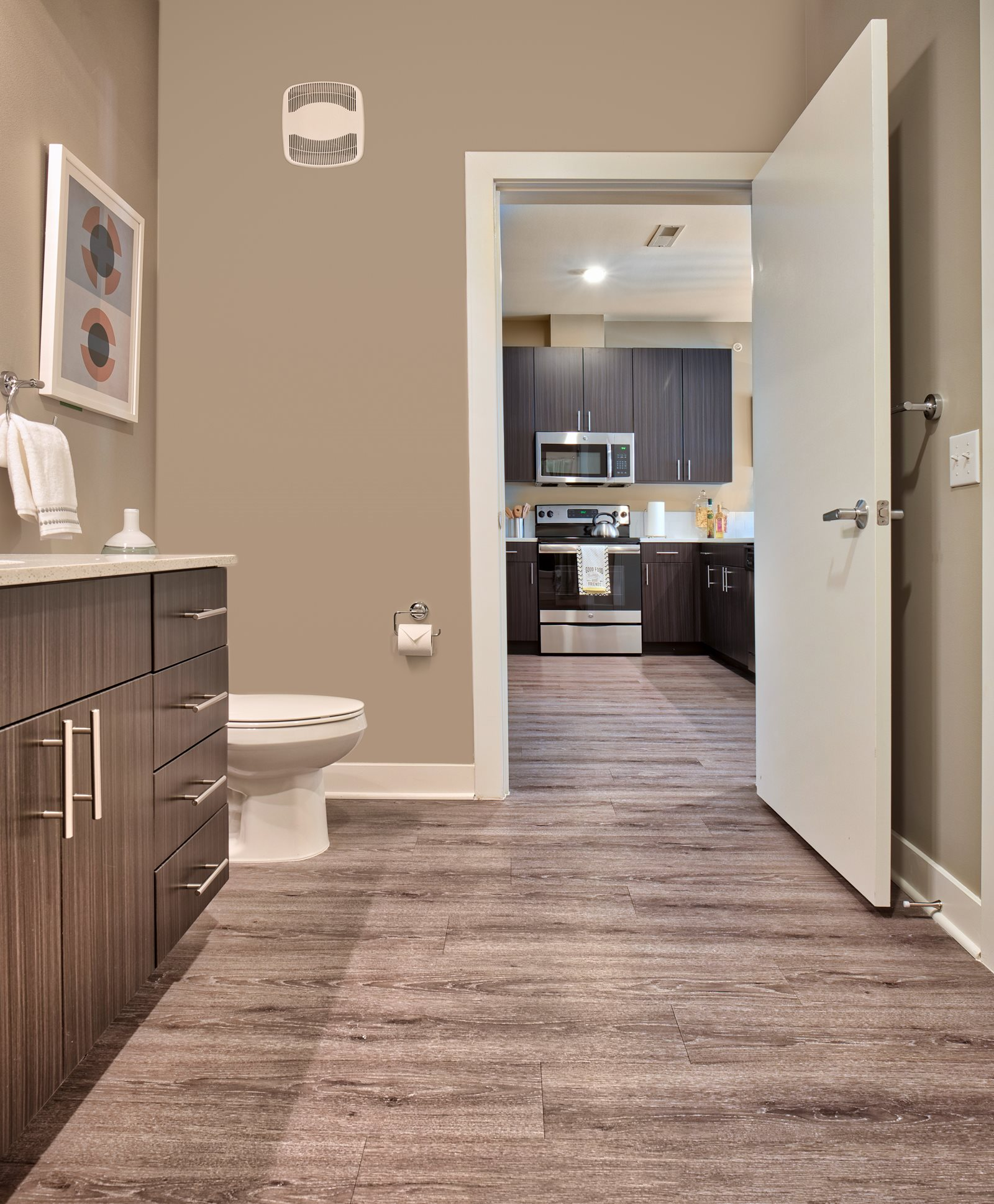 Bathrooms with Extra Storage Cabinetry at The Ridge at Robinson Apartments, Pennsylvania