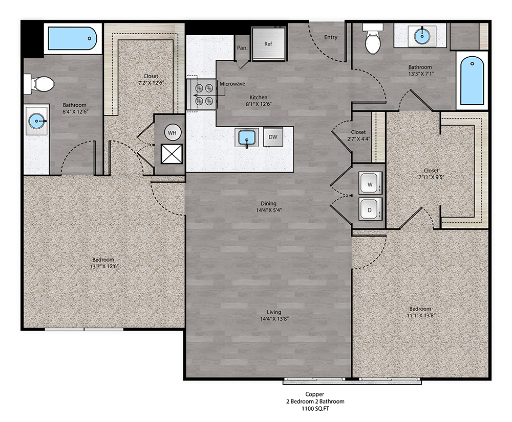 Copper Floorplan at The Ridge at Robinson Apartments
