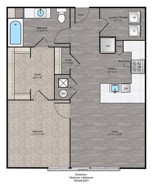 Chromium Floorplan at The Ridge at Robinson Apartments