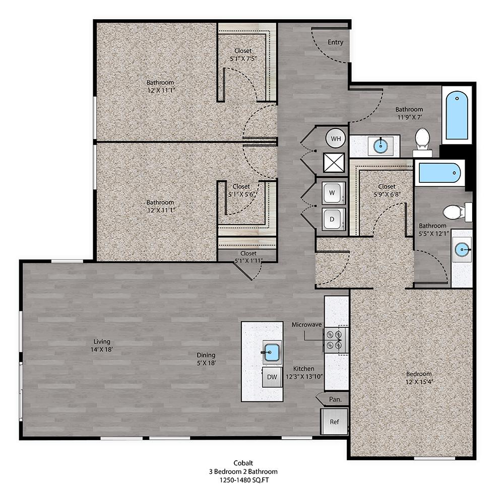 Cobalt Floorplan at The Ridge at Robinson Apartments