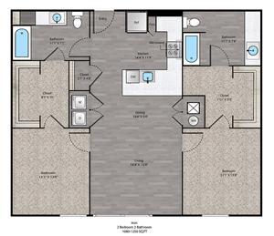 Iron Floorplan at The Ridge at Robinson Apartments