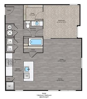 Nickel Floorplan at The Ridge at Robinson Apartments