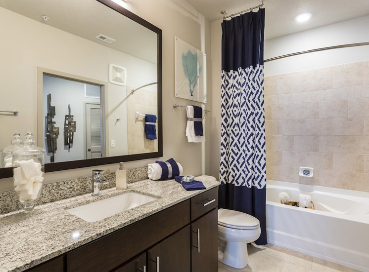 luxurious bathroom with granite countertops