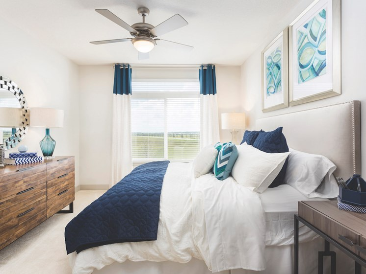 Landon House Apartments in Lake Nona Orlando, FL 32827 spacious bedroom with ceiling fan