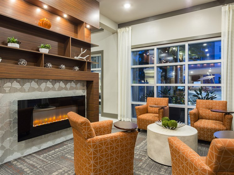 Landon House Apartments in Lake Nona Orlando, FL 32827 resident lounge with fireplace