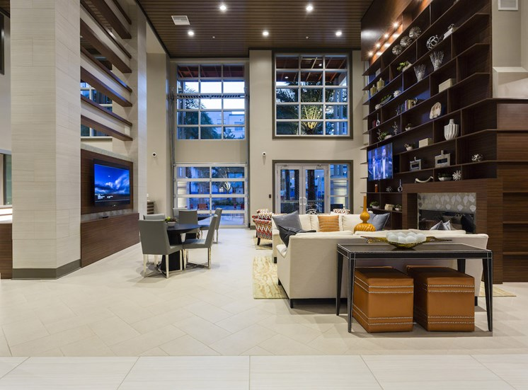 clubhouse lobby with ultra high ceilings