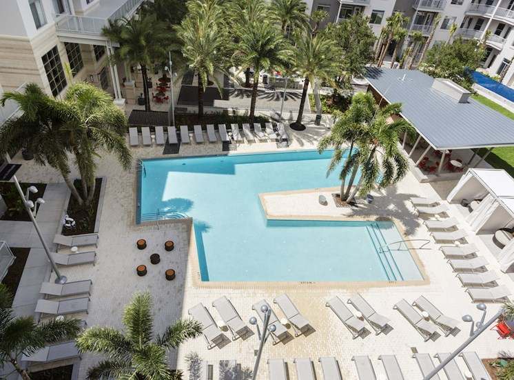 aerial view of large pool deck, pool, and amenity deck