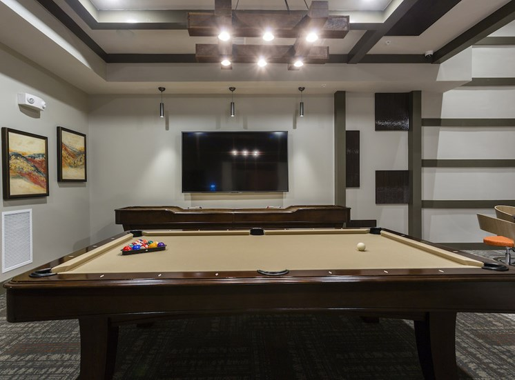 pool tables and tv in rec room