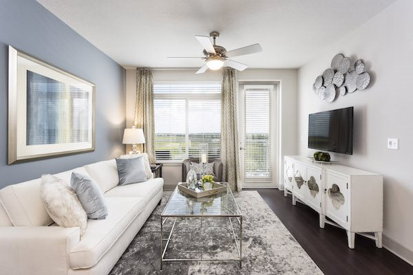 Landon House apartments in Orlando, Florida's Lake Nona Neighborhood living room with 10' ceiling