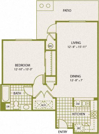 Plan 3 – 1 Bedroom 1 Bath Floor Plan Layout – 778 Square Feet