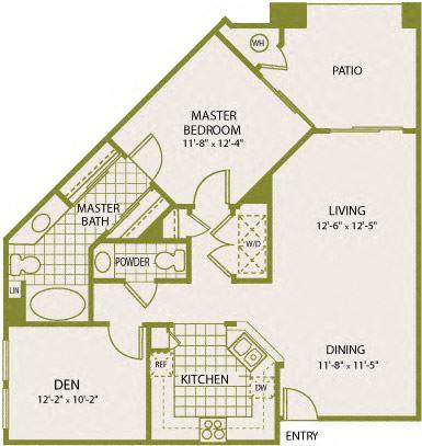 Plan 4 – 1 Bedroom 1.5 Bath Floor Plan Layout – 866 Square Feet