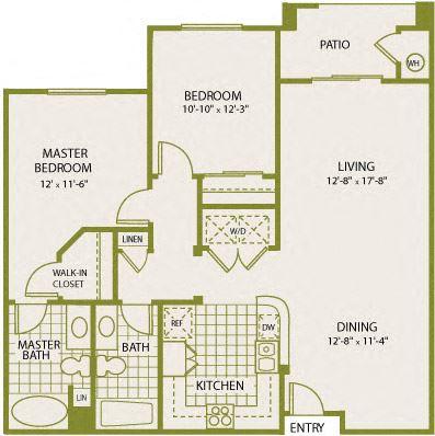 Plan 5 – 2 Bedroom 2 Bath Floor Plan Layout – 1026 Square Feet