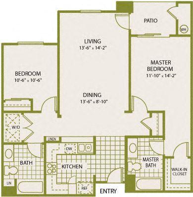 Plan 6 – 2 Bedroom 2 Bath Floor Plan Layout – 1039 Square Feet