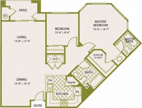 Plan 7 – 2 Bedroom 2 Bath Floor Plan Layout – 988 Square Feet