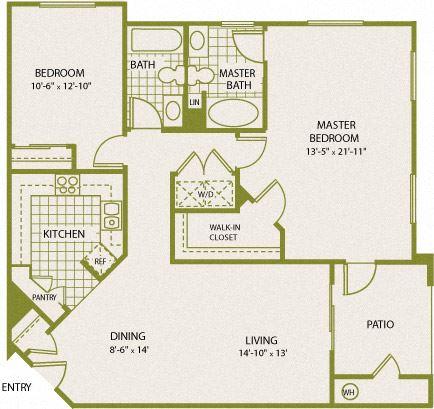 Plan 8 – 2 Bedroom 2 Bath Floor Plan Layout – 1151 Square Feet