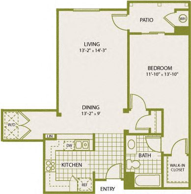 Plan 9 – 1 Bedroom 1 Bath Floor Plan Layout – 833 Square Feet