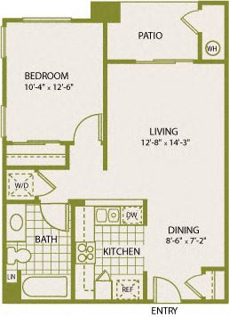 Plan 1 – 1 Bedroom 1 Bath Floor Plan Layout – 587 Square Feet