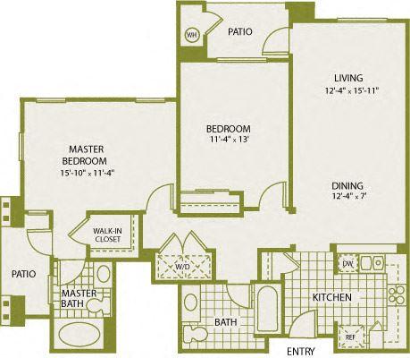 Plan A-2 – 2 Bedroom 2 Bath Floor Plan Layout – 1109 Square Feet