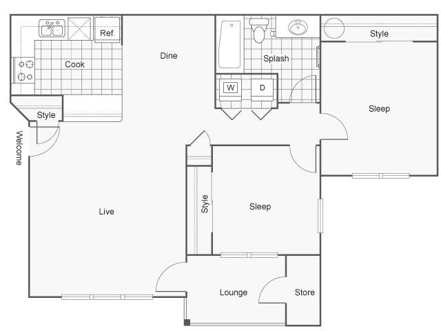 Floor Plan | Hanover Apartments For Rent in Beaverton, OR