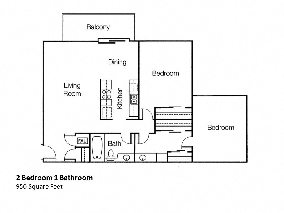 Two Bedroom One Bathroom Floor Plan, at Monte Vista Apts, 91750, California