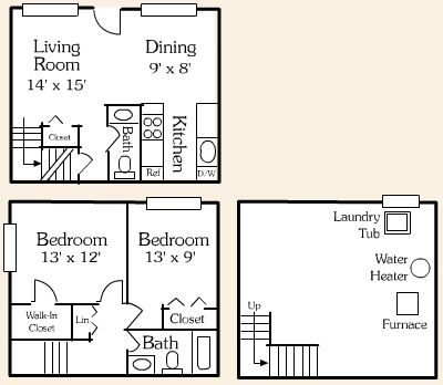 2 BR 1.5 BATH / TOWNHOUSE