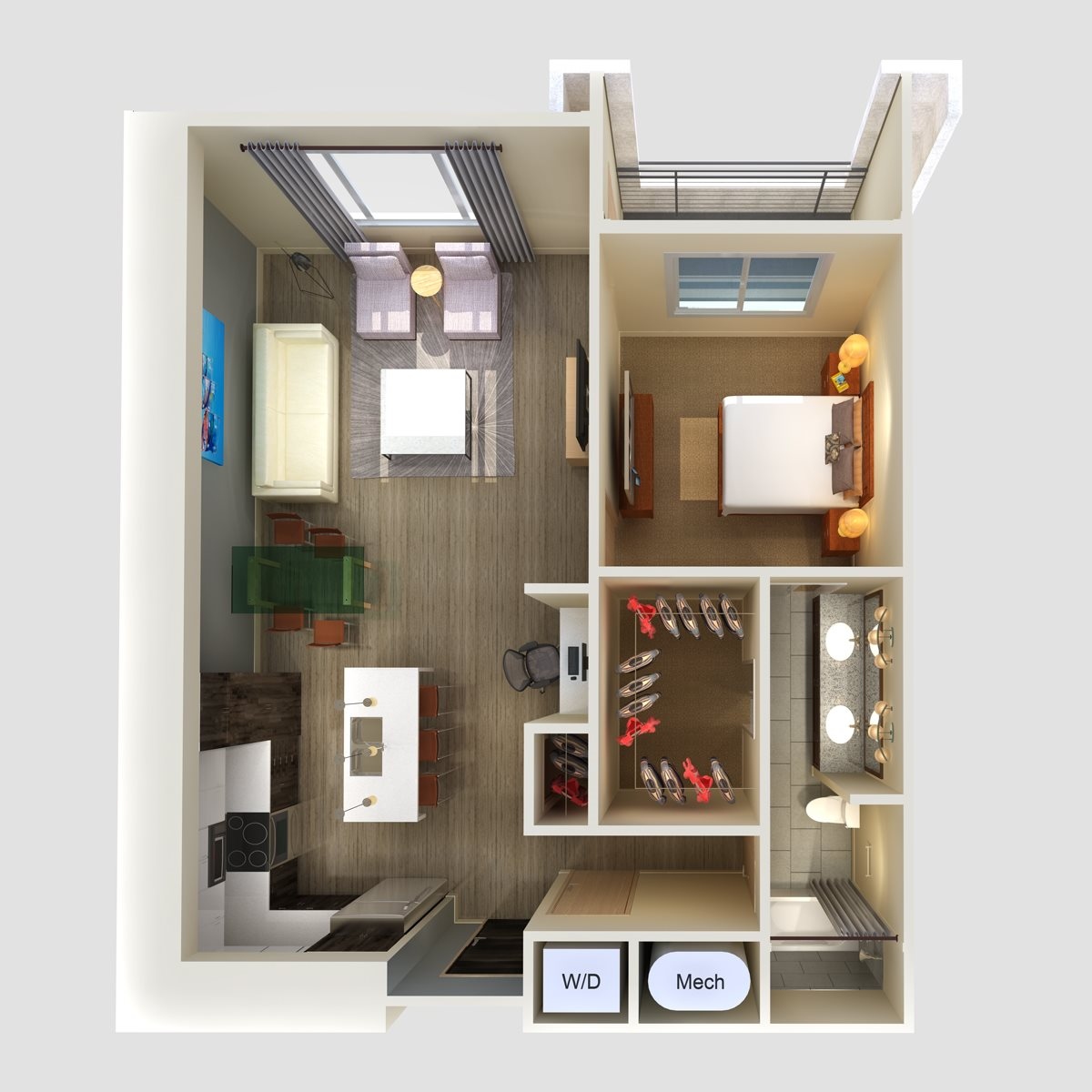 1Br 1Ba Floor Plan 2