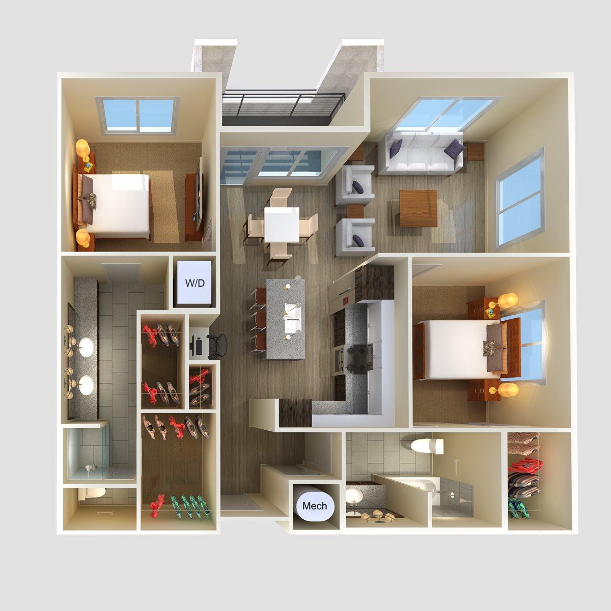 2Br 2Ba Floor Plan 3