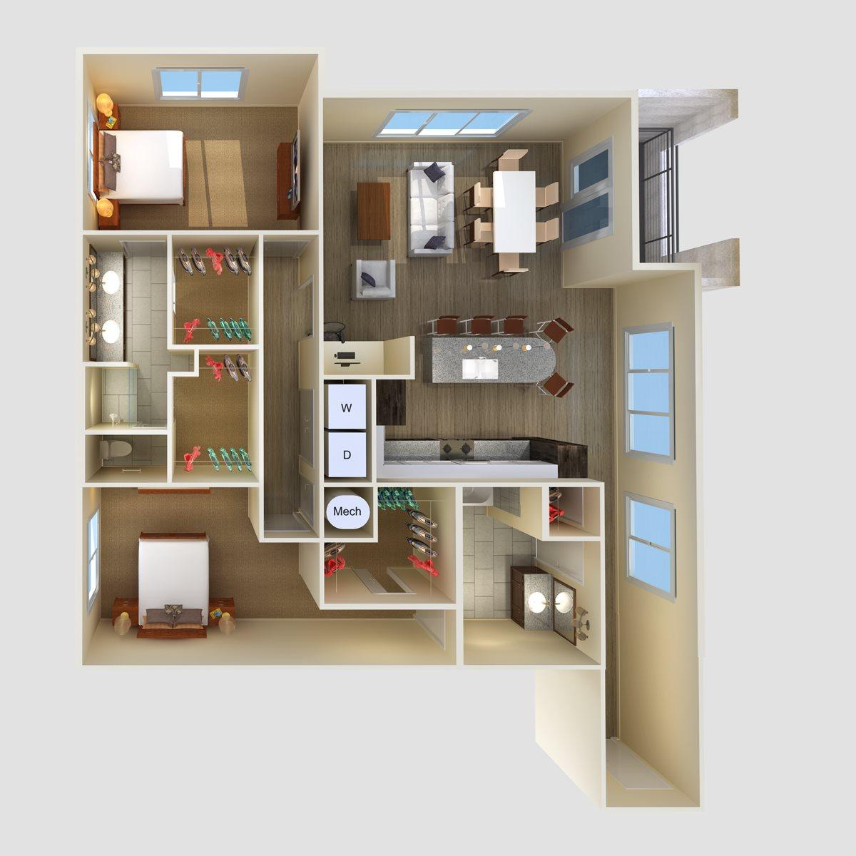 2Br 2Ba Floor Plan 4