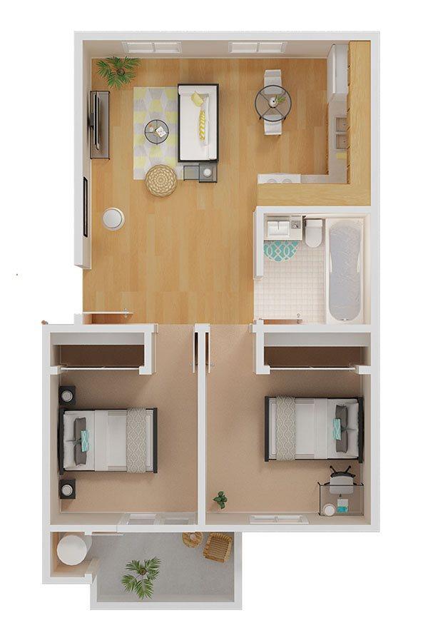 2bed/1bath Floor Plan 3