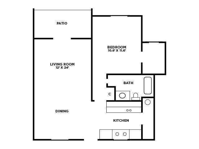 OneBedroom Floor Plan Floor Plan 1