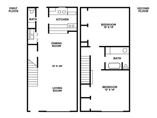 TwoBedroom Floor Plan A Floor Plan 2