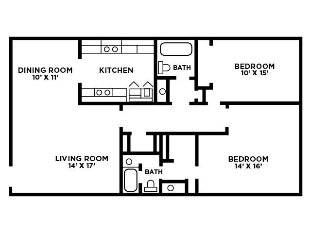 TwoBedroom Floor Plan F Floor Plan 5