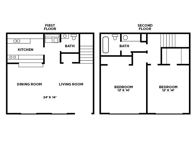 TwoBedroom Townhouse Floor Plan 4