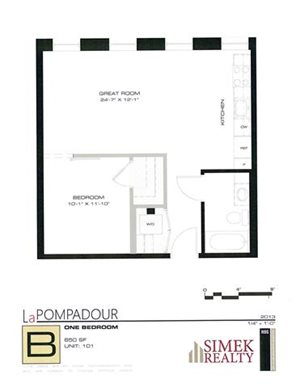 1 Bedroom 1 Bath 660sq
