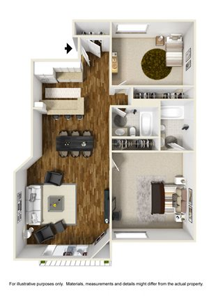2 Bed 2 Bath Plan C