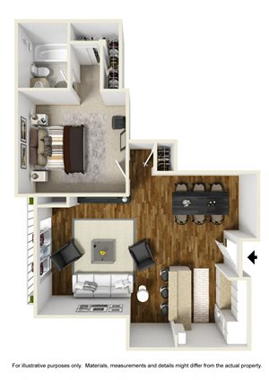 1 Bed 1 Bath Plan C