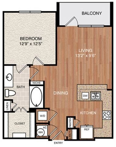 A3 Floor Plan at Berkshire Medical District, Dallas, TX, 75219