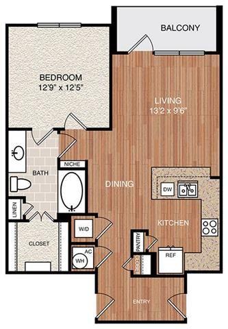 A6 Floor Plan at Berkshire Medical District, Dallas