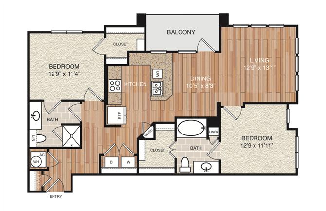 D3 Floor Plan at Berkshire Medical District, Texas, 75219