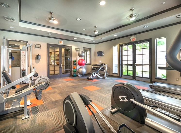 Fitness center with weight machines