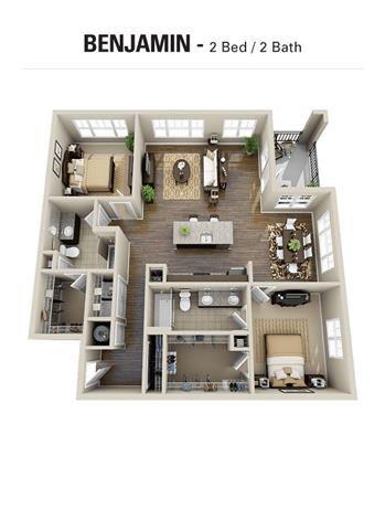 Benjamin Floor Plan at Berkshire Cameron Village, Raleigh