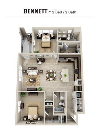 Bennett Floor Plan at Berkshire Cameron Village, North Carolina