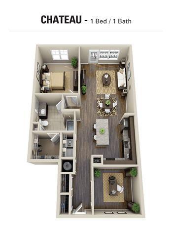 Chateau Floor Plan at Berkshire Cameron Village, Raleigh, NC, 27605