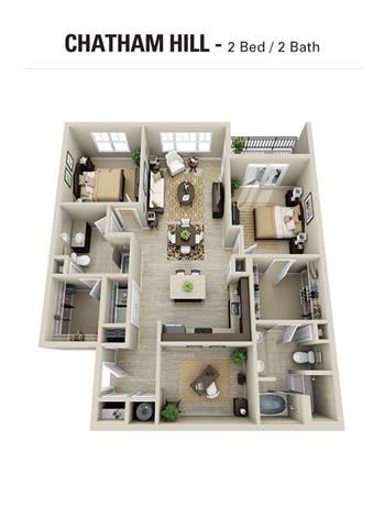 Chatham Hill Floor Plan at Berkshire Cameron Village, Raleigh, NC