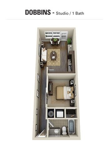 Dobbins Floor Plan at Berkshire Cameron Village, Raleigh, North Carolina
