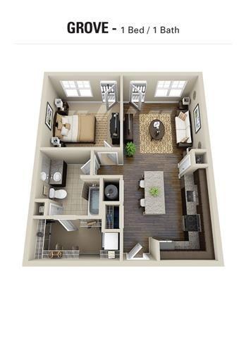 Grove Floor Plan at Berkshire Cameron Village, Raleigh
