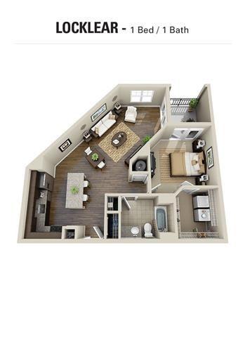 Locklear Floor Plan at Berkshire Cameron Village, Raleigh, NC, 27605