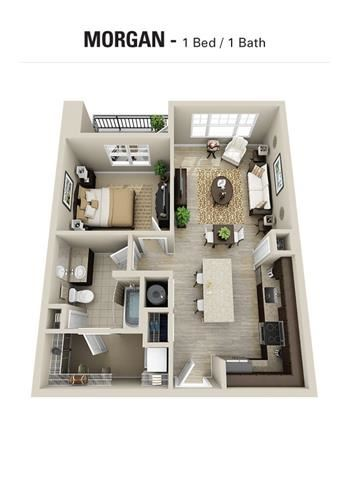 Morgan Floor Plan at Berkshire Cameron Village, Raleigh, NC